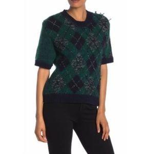 Burberry Argyle Short Sleeve Sweater Emerald Green